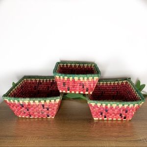 Vintage 3 colorful woven square nesting baskets